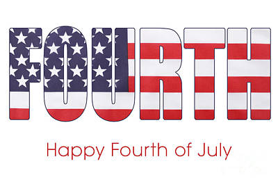 Fourth Of July Flag Letters Outline Poster by Milleflore Images