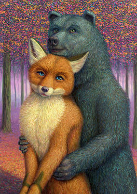 Fox And Bear Couple Poster by James W Johnson
