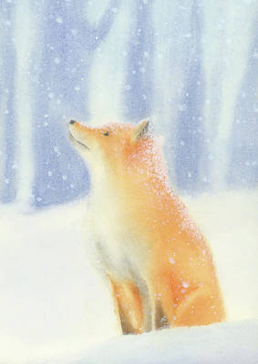 Poster featuring the painting Fox In The Snow by Taylan Apukovska