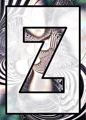 Fractal - Alphabet - Z Is For Zebra Colors Poster