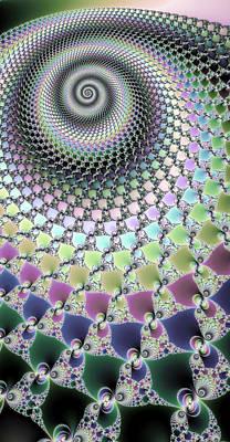 Fractal Spiral Hypnotizing Op Art Poster by Matthias Hauser