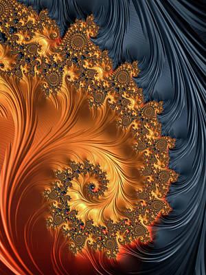 Fractal Spiral Orange Golden Black Poster