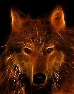 Fractal Wolf Poster