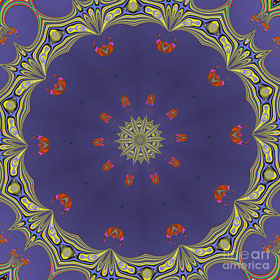 Fractalscope Flower 8 In Yellow Blue And Orange Poster by Rose Santuci-Sofranko