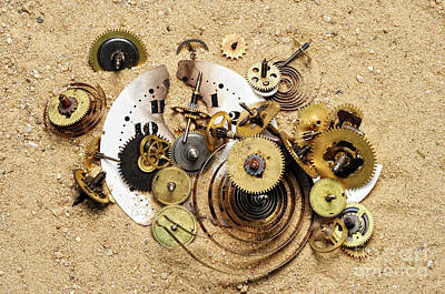 Fragmented Clockwork In The Sand Poster by Michal Boubin