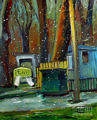 Framed Trailer Park Snow Globe Ready To Hang Poster by Charlie Spear