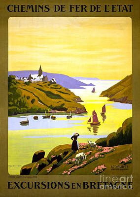 France Bretagne Vintage Travel Poster Restored Poster