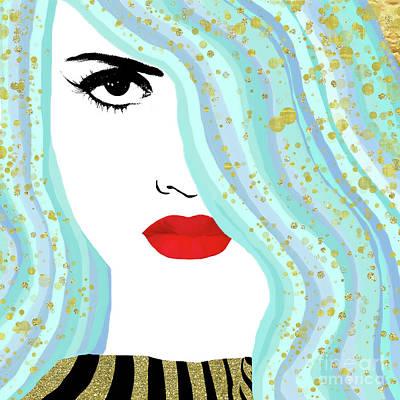 Francesca Has Mermaid Hair, Golden Bokeh, Fashion Art Poster
