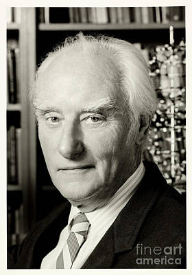 Francis Crick With Model Of Dna, 1995 Poster by Wellcome Images