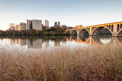 Francis Scott Key Bridge Arlington Virginia Potomac River Reflections Poster