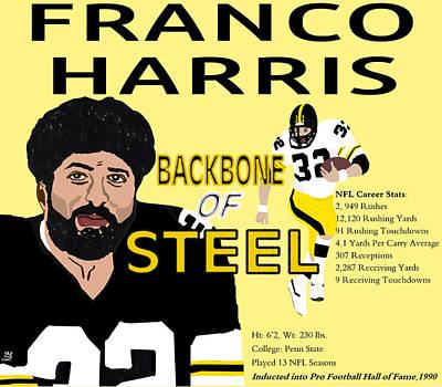 Franco Harris Backbone Of Steel Portrait Card Poster