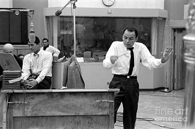 Frank Sinatra And Dean Martin At Capitol Records Studios 1958 Poster by The Titanic Project