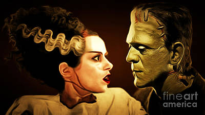 Frankenstein And The Bride I Have Love In Me The Likes Of Which You Can Scarcely Imagine 20170407 Poster by Wingsdomain Art and Photography