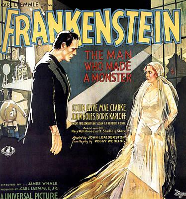 Frankenstein, Boris Karloff, Mae Clarke Poster by Everett