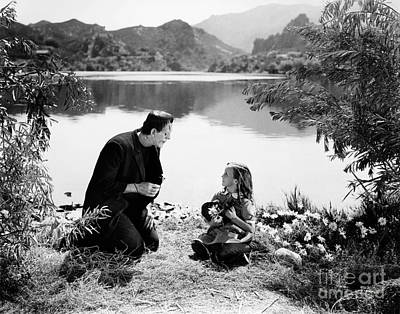 Frankenstein By The Lake With Little Girl Boris Karoff Poster by R Muirhead Art