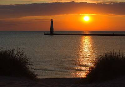 Frankfort Michigan Sunset Poster by Twenty Two North Photography