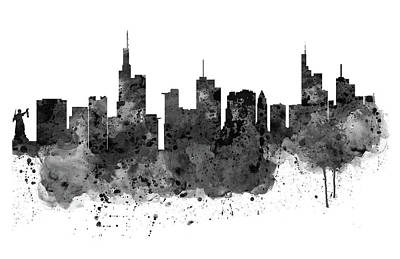 Frankfurt Black And White Skyline Poster by Marian Voicu