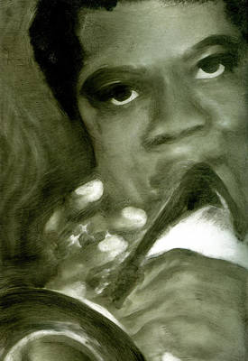 Poster featuring the painting Freddie Hubbard by FeatherStone Studio Julie A Miller