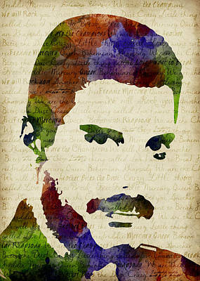 Freddie Mercury Watercolor Poster by Mihaela Pater