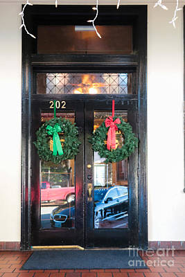Fredricksburg Door Decorated For Christmas Poster by Thomas Marchessault