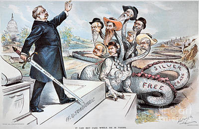 Free Silver Cartoon, 1895 Poster