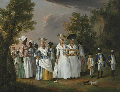 Free Women Of Color With Their Children And Servants In A Landscape Poster by Agostino Brunias