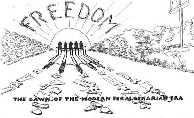 Poster featuring the drawing Freedom by R  Allen Swezey