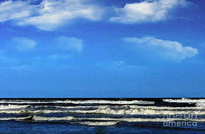 Poster featuring the digital art Freeport Texas Seascape Digital Painting A51517 by Mas Art Studio