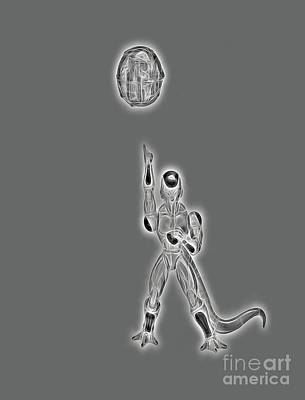 Poster featuring the digital art Freeza Black And White by Ray Shiu