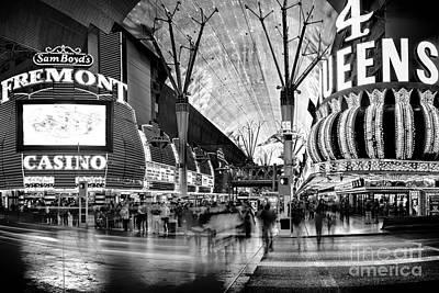 Fremont Street Casinos Bw Poster by Az Jackson