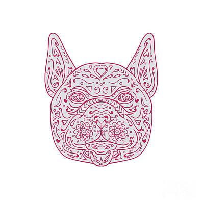 French Bulldog Head Front Mandala Poster by Aloysius Patrimonio