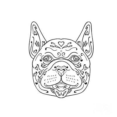French Bulldog Head Mandala Poster by Aloysius Patrimonio