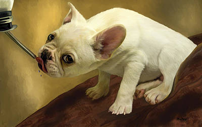 Poster featuring the digital art French Bulldog  by Thanh Thuy Nguyen