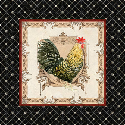 French Country Roosters Quartet Black 3 Poster by Audrey Jeanne Roberts