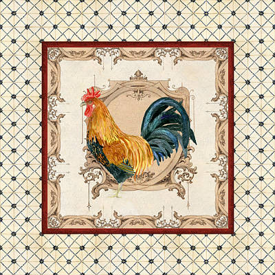French Country Roosters Quartet Cream 4 Poster by Audrey Jeanne Roberts