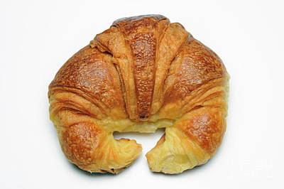 French Croissant On White Background Poster by Sami Sarkis