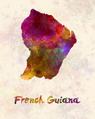 French Guiana In Watercolor Poster by Pablo Romero