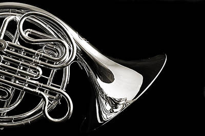 French Horn Isolated On Back Poster