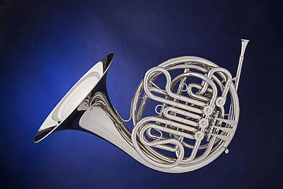 French Horn Silver Isolated On Blue Poster