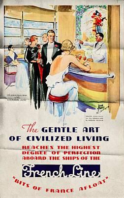 French Line - Bits Of France Afloat - Vintage Poster Folded Poster