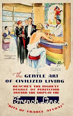 French Line - Bits Of France Afloat - Vintage Poster Vintagelized Poster