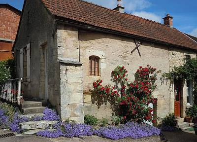 French Medieval House With Flowers Poster