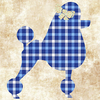 Poster featuring the mixed media French Poodle Plaid by Christina Rollo