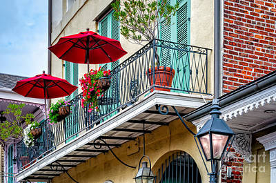 French Quarter Balcony And Umbrellas - Nola Poster by Kathleen K Parker
