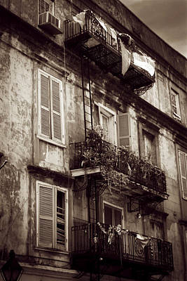 French Quarter Shutters And Balconies In Sepia Poster by Chrystal Mimbs