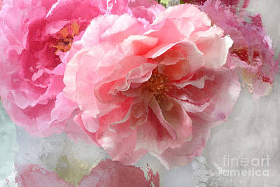 French Shabby Chic Romantic Impressionistic Pink Roses - Painted Pink French Roses Belle Fleur  Poster by Kathy Fornal