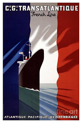 French Shipping Line Poster Poster by Pd