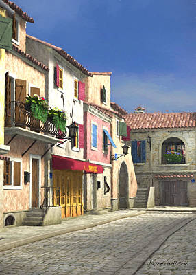 French Village Scene With Cobblestone Street Poster by Jayne Wilson