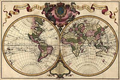 French World Map Shows Nautical Poster