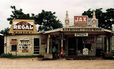 Frenchies Bar And One-pump Gas Station - Melrose, Louisiana  1940 Poster by Daniel Hagerman